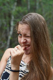 A moça pisc um olho Imagem de Stock Royalty Free