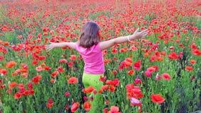 Moça que anda no campo das papoilas Fotos de Stock Royalty Free