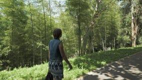 Moça que anda no jardim botânico tropical Batumi, Geórgia video estoque