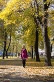 Moça que anda no parque na cidade no outono Fotos de Stock Royalty Free