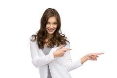 Moça que aponta o gesto de mão imagem de stock royalty free