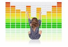 Moça que escuta a música de Digitas em Front Of um grande equalizador dos gráficos imagens de stock