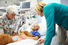 Moça que está sendo visitada no hospital pelo cão da terapia Fotografia de Stock Royalty Free