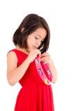 Moça que faz a música com pandeiro no branco Imagens de Stock Royalty Free