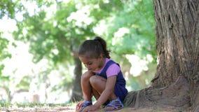 Moça que joga o jogo que senta-se na árvore no parque vídeos de arquivo