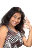 Moça que mostra a apreciação Foto de Stock Royalty Free