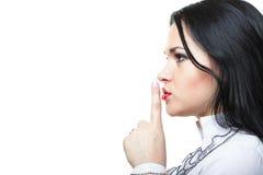 Moça que pede o silêncio Fotografia de Stock Royalty Free