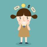 Moça que pensa sobre o vetor do dinheiro Imagens de Stock Royalty Free