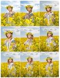 Moça que veste a blusa tradicional romena que levanta no campo do canola com o céu nebuloso no fundo, tiro exterior Foto de Stock