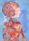 Moça sonhadora com um pássaro em seu ombro Conceito da serenidade Imagens de Stock