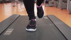 A moça treina em uma escada rolante no vídeo da metragem do estoque do movimento lento do gym video estoque