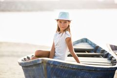 Moças no barco Fotografia de Stock
