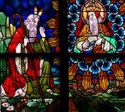 Moïse et Dieu en verre souillé photos stock