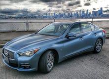 może 2015 Seattle Washington - nieskończoności q50 wysokiego występu samochód Zdjęcia Royalty Free