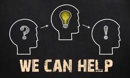 Możemy pomagać - grupy trzy ludzie z znakiem zapytania, cogwheel Obrazy Stock
