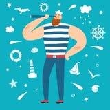 Możny żeglarz z spyglass ilustracji