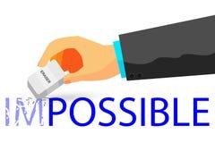 Mão - apagando o texto impossível com eliminador - ilustração para que como mude impossível à coisa possível no fundo branco Imagem de Stock