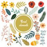 A mão bonito tirada rabisca elementos isolados florais, grupo de flores retros, ramo e folha Fotografia de Stock Royalty Free