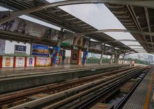 BTS sky train,the rapid system of Bangkok arriving the station Royalty Free Stock Image