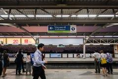 Mo Chit BTS Station. Bangkok, Thailand - April 27, 2016: Mo Chit BTS Station is a BTS skytrain station, on the Sukhumvit Line in Chatuchak District, Bangkok stock photo