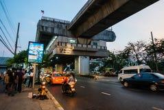 Mo Chit BTS Station. Bangkok, Thailand - April 27, 2016: Mo Chit BTS Station is a BTS skytrain station, on the Sukhumvit Line in Chatuchak District, Bangkok royalty free stock photography