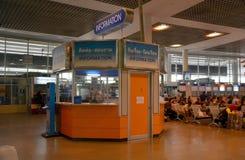 Mo Chit bus station. BANGKOK, THAILAND, MARCH 19, 2015 - Information booth at the bus station Mo Chit in Bangkok, Thailand royalty free stock images
