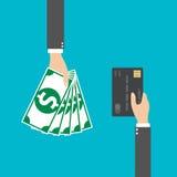 Mão com cartão de crédito e dinheiro para seu projeto, ilustração do vetor Fotografia de Stock