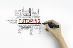 Mão com escrita do marcador - nuvem da palavra do TUTORIA, concep da educação Fotos de Stock Royalty Free