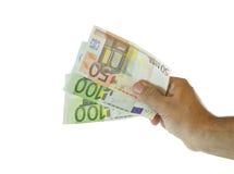 Mão com euro- notas de banco Imagem de Stock Royalty Free