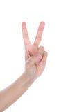 Mão com os dois dedos isolados Fotografia de Stock Royalty Free