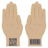 Mão com um código de barras Imagem de Stock