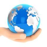 mão 3d que guarda a terra azul Fotos de Stock