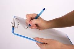 Mão da escrita Fotografia de Stock