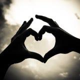 Mão da forma do amor Imagens de Stock Royalty Free