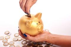 A mão da mulher que põe o dinheiro brasileiro das moedas no mealheiro Imagens de Stock Royalty Free