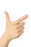 Mão de apontar o sinal Imagens de Stock