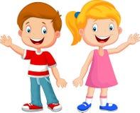 Mão de ondulação dos desenhos animados bonitos das crianças Imagens de Stock Royalty Free