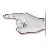 Mão, dedo e nota Fotos de Stock