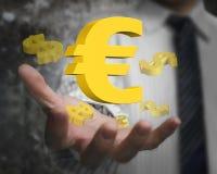 Mão do homem de negócios que mostra o euro- símbolo com sinais de dólar Imagem de Stock Royalty Free