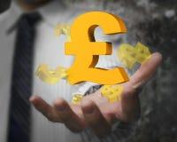 Mão do homem de negócios que mostra o símbolo de libra esterlina com sinais de dólar Fotos de Stock