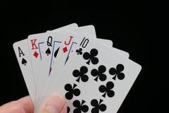 Mão do póquer com em linha reta. Imagens de Stock Royalty Free
