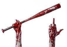 Mão ensanguentado que guarda um bastão de beisebol, um bastão de beisebol ensanguentado, bastão, esporte de sangue, assassino, zo Imagens de Stock