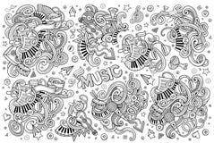 A mão esboçado do vetor tirada rabisca o grupo dos desenhos animados de objetos da música Fotografia de Stock Royalty Free