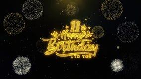 11mo feliz cumpleaños escrito las partículas del oro que estallan la exhibición de los fuegos artificiales libre illustration