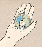 Mão grande - terra e ser humano Fotos de Stock