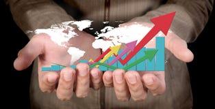 Mão humana que mostra o gráfico das setas Fotografia de Stock Royalty Free