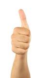 Mão masculina que gesticula a aprovação Fotos de Stock Royalty Free