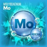 Mo Molybdaenum Vector. Mineral Blue Pill Icon. Vitamin Capsule Pill Icon. Substance For Beauty, Cosmetic, Heath Promo. Ads Design. Mineral Complex With Chemical Stock Photos