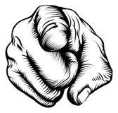 Mão que aponta no visor Imagens de Stock Royalty Free