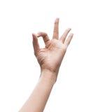 A mão que gesticula está bem canta Imagens de Stock